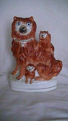 Antique C1860 Pottery Staffordshire Dog With 2 Pups Seated On A Base