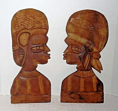 Vtg Set Hand Carved Wood African Couple Tribal Folk Art Heads Silhouette Plaques