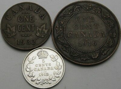 CANADA 1, 5 Cents 1913/1916/1932 - Bronze/Silver - 3 coins - 2024 ¤