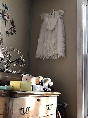 Vintage Baby Christening Gown With Bonnet