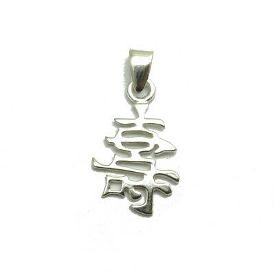 Sterling silver pendant solid 925 Chinese symbol Longevity PE001274