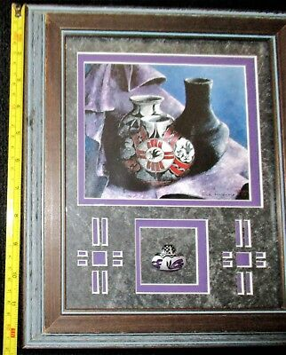 "ORIGINAL Dick Reynolds SIGNED Mixed Media Pottery Folk Art in 12""x10"" frame OOAK"