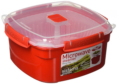 Sistema Microwave Medium Steamer with Removable Steamer Basket, 2.4 L - Red/Clea