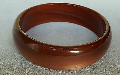 Vintage Moon Glow Lucite Plastic Russet Red Deep Orange Bangle