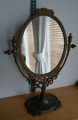 Vintage Copper Framed Dressing Table Swinging Mirror With Stand