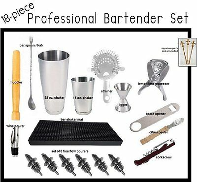 18-piece Professional Bartender Kit / Mixologist Set w/Signature Party Picks
