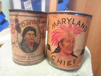 2 Rare Vintage Maryland Chief Soloman Native American Indian Paper Label Tin Can