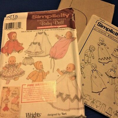 Baby Doll Clothes 3 Sizes -Simplicity 5215 - New, Factory Folded, Uncut Pattern