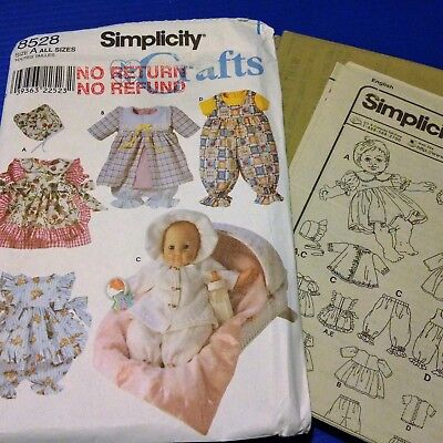 Baby Doll Clothes 3 Sizes - Simplicity 8528 - New, Factory Folded, Uncut Pattern