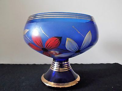 Very Pretty Old Glass Pedestal Bowl Blue,Gold & Floral Decal
