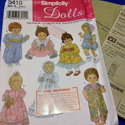 Baby Doll Clothes 3 Sizes - Simplicity 5419 - New, Factory Folded, Uncut Pattern