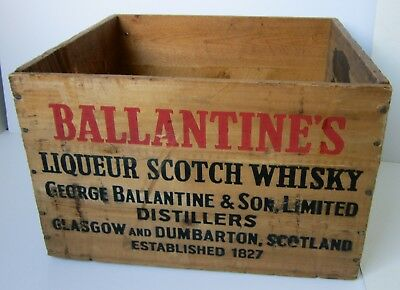 "Old WOOD/Wooden BALLANTINE""S Liqueur SCOTCH WHISKY Crate/BOX-Scotland/New York"