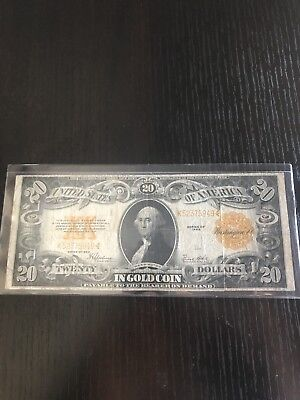 Scarce 1922 $20 Dollar Bill Gold Certificate Coin Note Check Pics!!