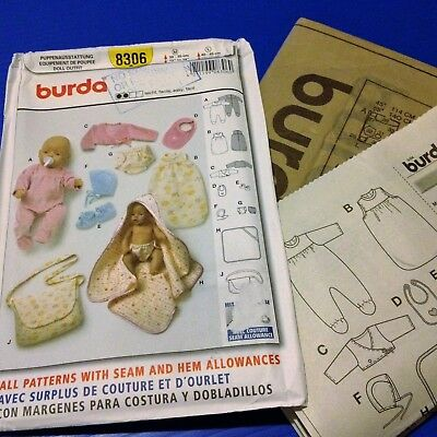 New Born Baby Doll Clothes 2 Sizes - Burda 8306 - Factory Folded, Uncut Pattern