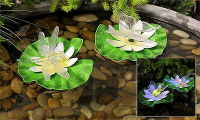 DRAGONFLY & BUTTERFLY on LILYPAD  Set of 2  NIB LED LIGHTED POND FLOATERS