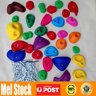 New 32pcs Indoor Rock Climbing Stones Hand Hold Wall Climb Plastic Kit Kids Toys