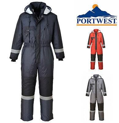 Portwest Winter Padded Waterproof Insulated Overall Coverall Hood WorkWear S585