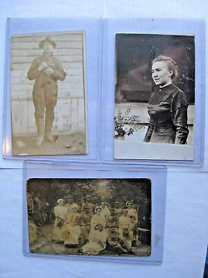 Rppc. Lot Of 3 Early 1900's. 3 Real Photo Postcards 1 Military Free Shipping