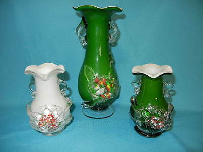 Set of 3 Green & White CASED glass vases - Hand Made Blown Glass - Vintage glass