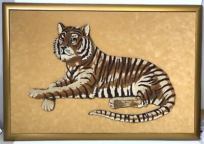 Tiger Made of Carpet on Micro Suede Background Custom Framed Art Piece 26 x 38