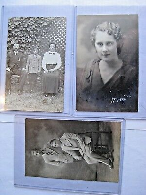 Rppc. Lot Of 3 Early 1900's. 3 Real Photo Postcards Free Shipping