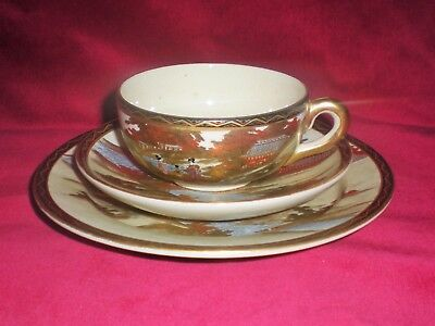 Fine Antique Japanese Satsuma Cup Saucer & Plate Trio - Mark to Base