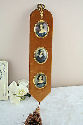French Antique Wall Set  3 Miniature Portrait lady victorian velvet panel 19thc