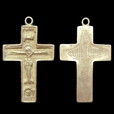VERY RARE ANCIENT ROMAN SILVER RELIQUARY CROSS DOUBLE SIDED 2nd CENTURY AD (1)