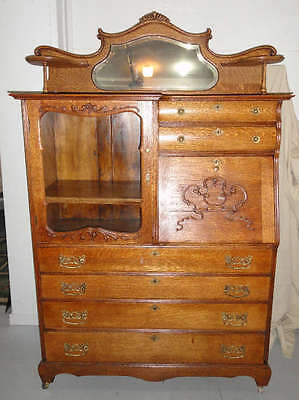 Antique quarter sawn oak American secretary  / bookcase / buffet. Circa 1890