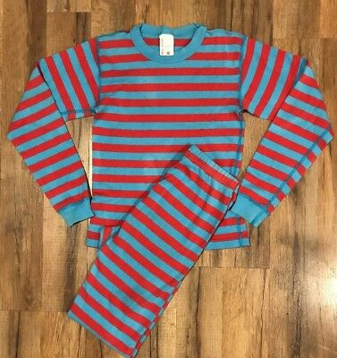 Hanna Andersson Boys Blue/Red Striped Pajamas Size 140. Size 10.