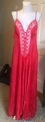 Vintage Kayser Red Nylon Long Nightgown Negligee Size Large
