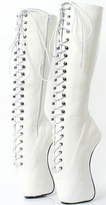 White KNEE High Ballet PONY Boots, high heals, sexy boot 18 CMS