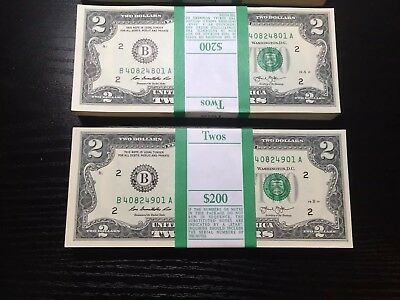 2013 (1 ) Two Dollar Bill, $2 Note,New York, Uncirculated ,consecutive