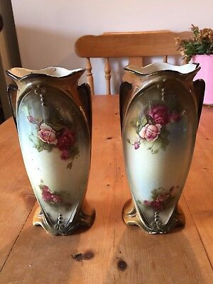 "2 x LANCASTER & SONS (L & SONS) HANLEY ENGLISH 8"" TALL VASES"