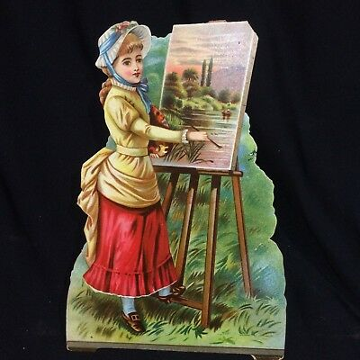Antique BORAXINE Soap Victorian Die Cut Trade Card Large~Adv Lady Painting VTG