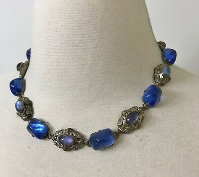 Vintage French Art Deco Blue & Lavender Glass In Silver Tone Necklace