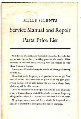 Mills Silents Service Manual & Repair Parts Price List -Slot Machines/1938