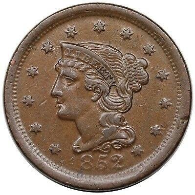 1852 Braided Hair Large Cent, N-22, LDS (old N-9), nice XF