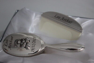 Personalised Silver Plated Teddy Bear Design Brush and Comb Set