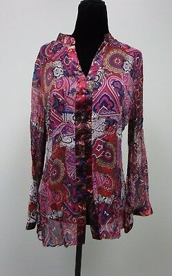 44e80d2a0fa76 Chico s Silk Blouse Top Paisley Bell Sleeves Button Down Sheer Women s Size  1