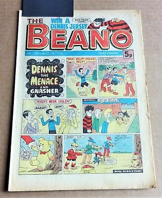 """D.C.THOMPSON  """"BEANO""""  COMIC #1881   DATED  AUGUST 5th 1978"""
