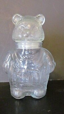 Clear Glass Bear Jar With Lid