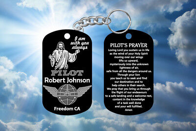 Airplane Jet Pilot Gift Pilot's Prayer Dog Keychain - Jesus Design, Personalized