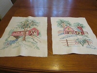 Pair of Vintage Hand Stitched Needlework pieces - Covered Bridge & Barn
