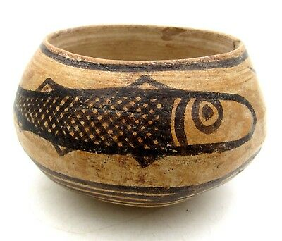 Indus Valley Terracotta Bowl W/ Fish Motif - Very Rare Artifact Lovely - L557