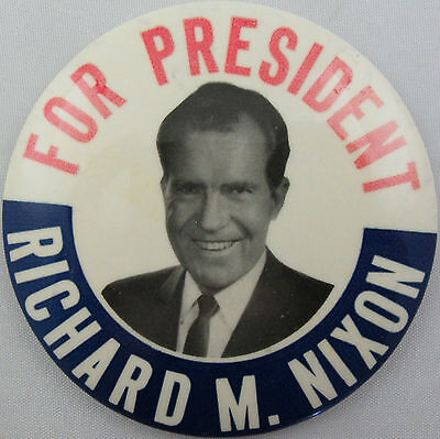 Richard M. Nixon for President Political Button Pin Pinback 3 1/2""