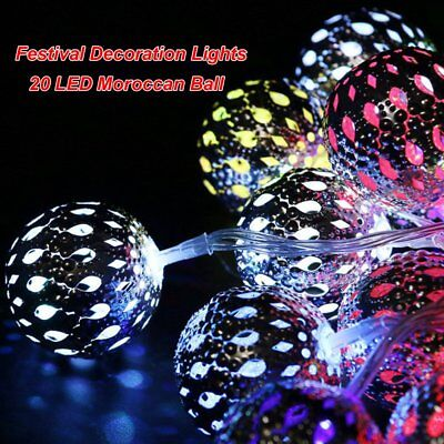 Outdoor Christmas Lights 20 LED Colorful Moroccan Ball Solar String Fairy Lamp