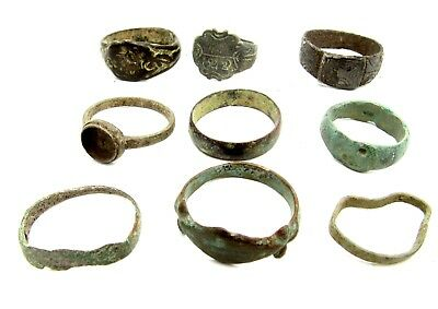 Lot Of 9 Roman / Medieval Bronze Rings For Cleaning - Wearable Stunning - B486