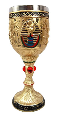 Ancient Egyptian Pharaoh King Tut Resin Wine Goblet Chalice With Stainless Stee