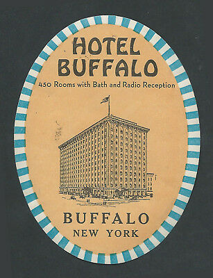 Hotel Buffalo BUFFALO New York - vintage luggage label